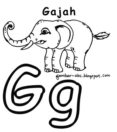 Aku Bisa Menghafal Huruf Abc mewarnai huruf quot g quot gambar gajah contoh gambar mewarnai