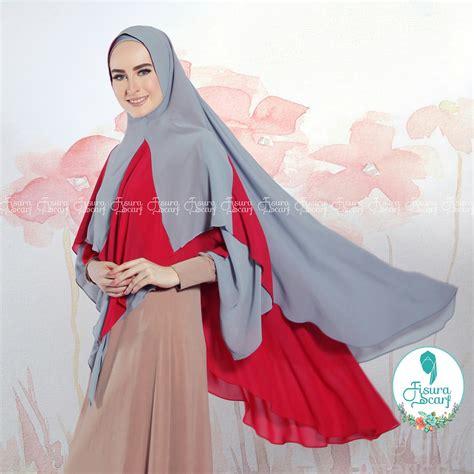 Khimar Bahan Ceruti khimar alayha by fisura kombinasi 2 warna bahan ceruti