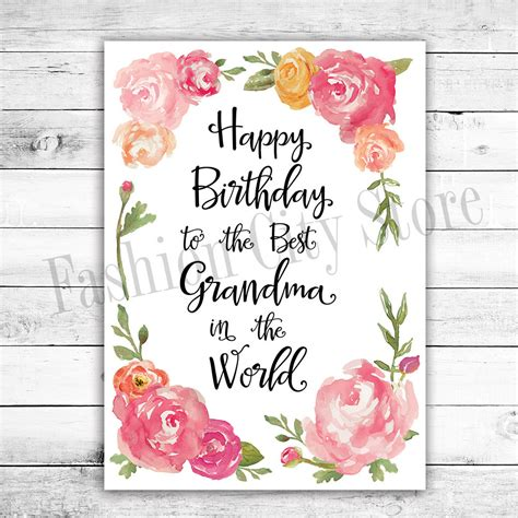 printable happy birthday card for grandma happy birthday card for grandma watercolor by fashioncitystore