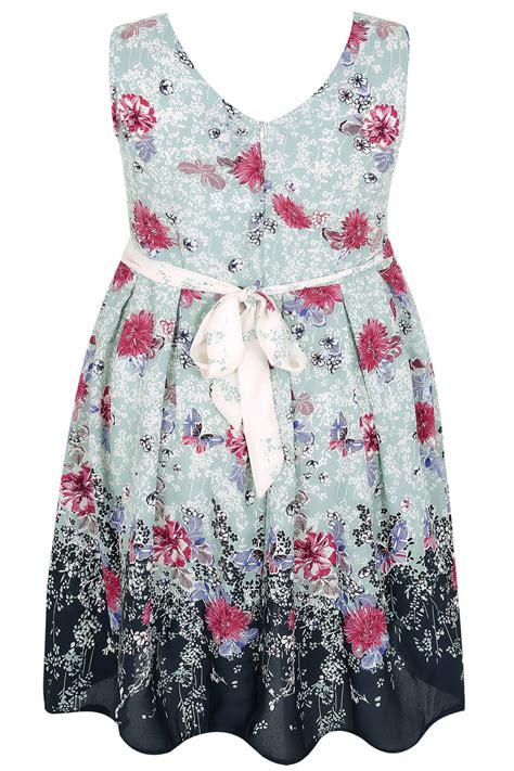Tie Waist Floral Print Dress mint green multi floral print dress with tie waist plus