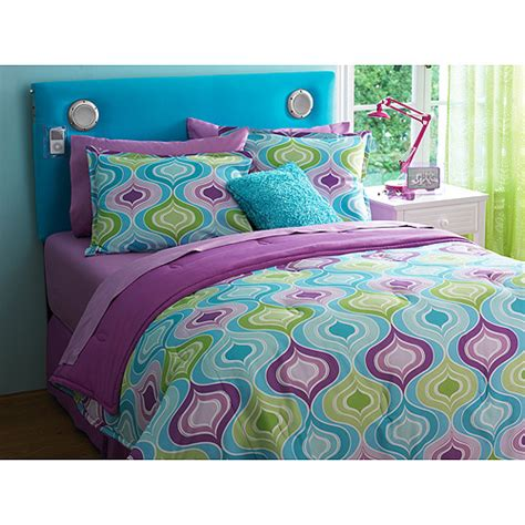 teal and purple bedding your zone reversible comforter and sham set walmart com