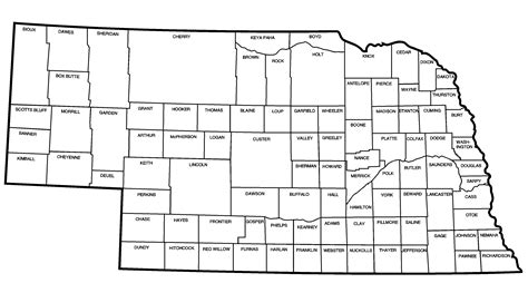 nebraska county map map of nebraska including counties