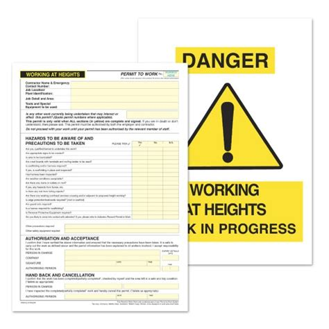 working at height permit to work template choice image