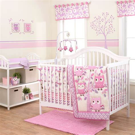 forest animal crib bedding dancing owls 3 piece forest animals purple baby girl crib