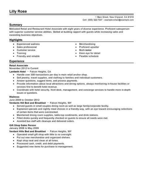 sle resumes for in hospitality best retail and restaurant associate resume exle