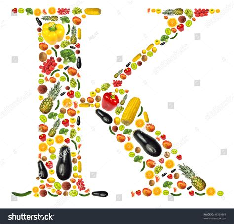 k fruits and vegetables letter quot k quot made of fruit and vegetable stock photo