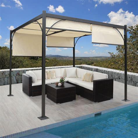 pavillon überdachung terrasse alu 3x3 m pavillon garten markise sonnenschutz terrassen
