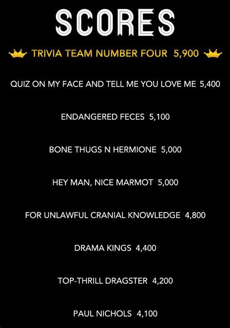 film based quiz team names best girl trivia team names