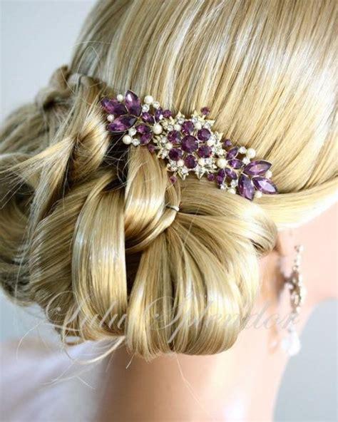 Vintage Gold Wedding Hair Accessories by Vintage Bridal Comb Amethyst Wedding Hair Comb Purple