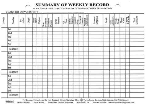 sunday school report card template summary of weekly record card form 410q b h publishing