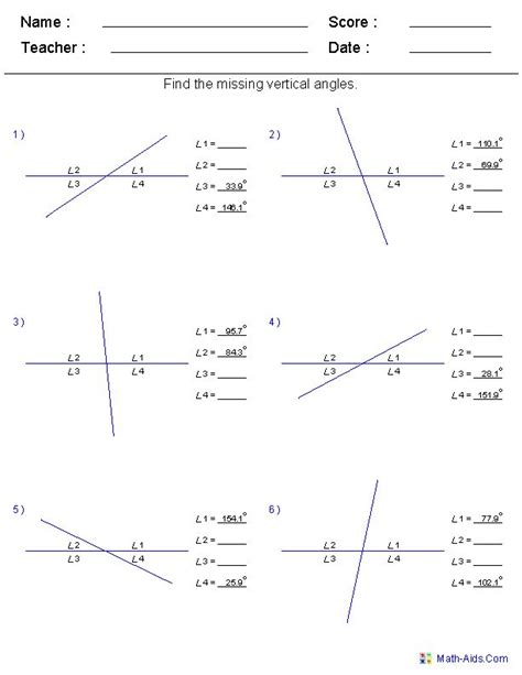 geometry worksheets angles worksheets for practice and study find vertical angles worksheets projects to try