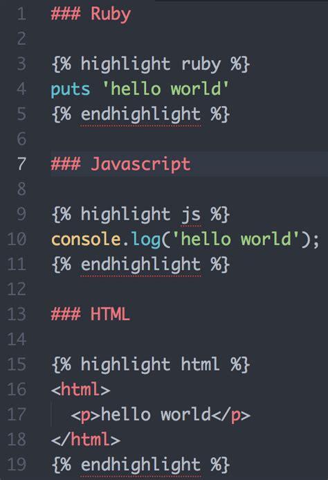 jekyll highlight themes jekyll syntax highlighting