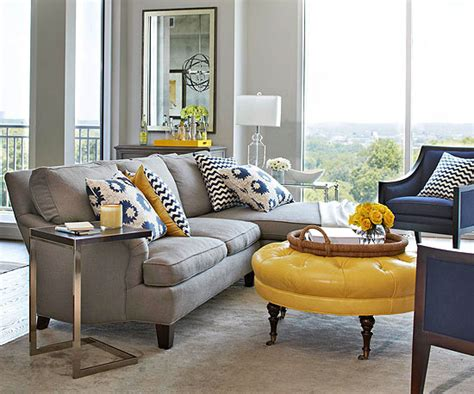 Navy Blue And Gray Living Room by Yellow And Gray Living Room Living Room Bhg