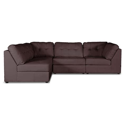 4 piece leather sectional sofa warren 4 piece modular sectional sofa dark brown leather