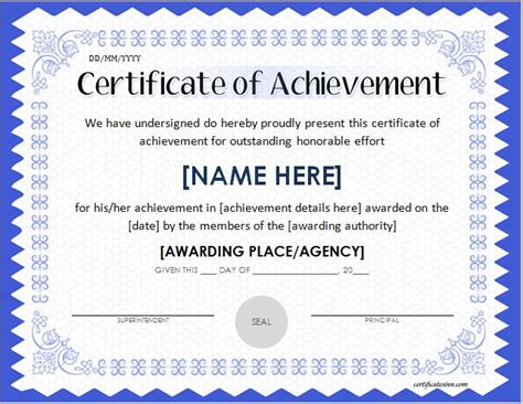 certificate of achievement template for scholarship award certificate template word excel