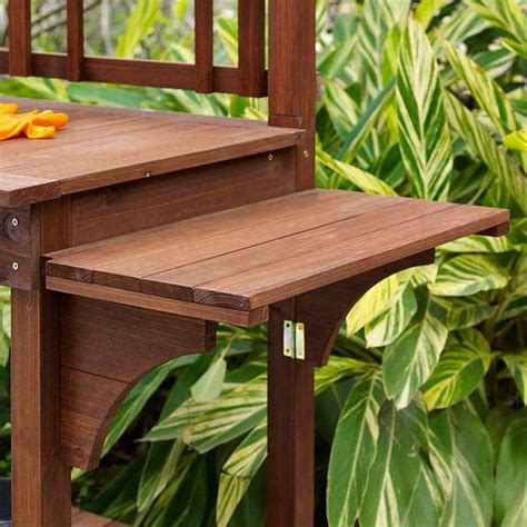 wooden potting bench with shelf solid wood potting bench with flip up sides garden tool