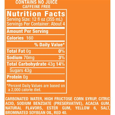 sunkist soda nutrition facts label nutrition ftempo
