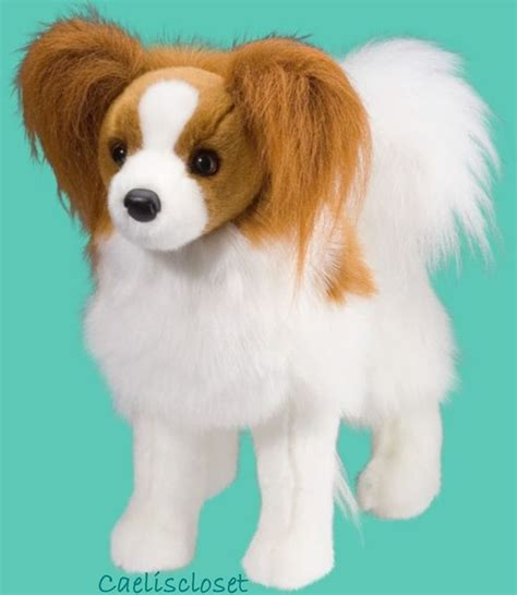 douglas plush feathers papillon stuffed animal puppy dog