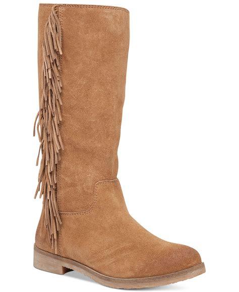 lucky brand s grayer fringe boots in beige honey