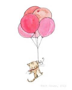 kitty holding balloons cool things pinterest drawing