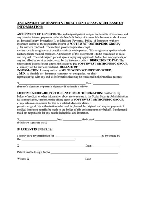 Assignment Of Benefits Direction To Pay And Release Of Information Form Printable Pdf Download Assignment Of Benefits Form Template