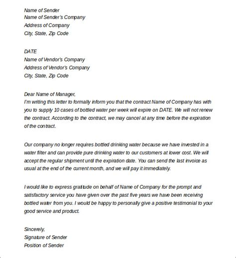 termination letter format to vendor sle termination letters 8 termination of services