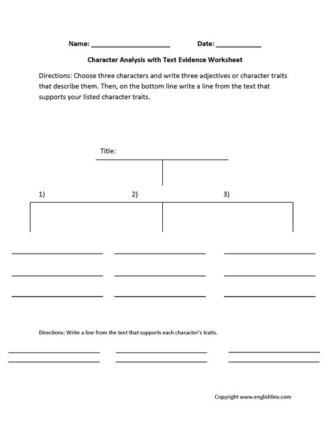 Character Development Worksheet Pdf by Englishlinx Character Analysis Worksheets