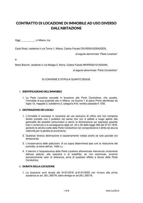 disdetta appartamento contratto di locazione commerciale uso diverso dall