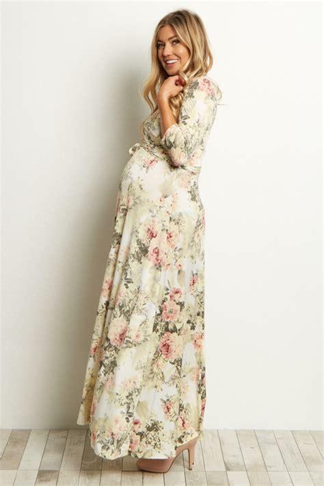 ivory floral maternity wrap maxi dress