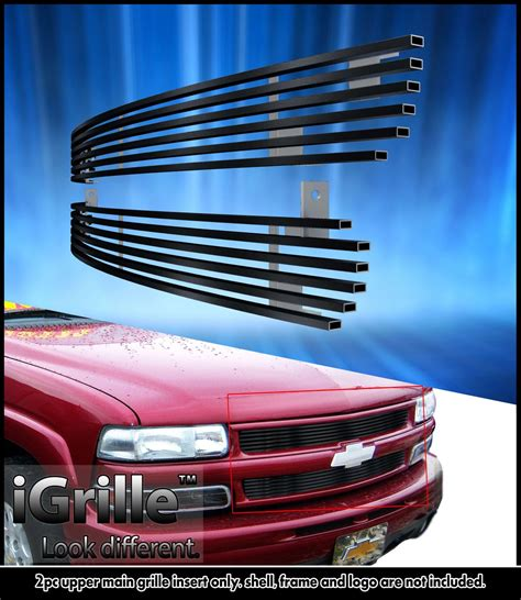 fits 1999 2002 chevy silverado 1500 06 tahoe stainless t304 black billet grille