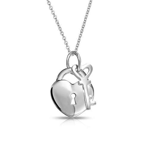 Key to Your Heart Padlock Pendant Sterling Silver