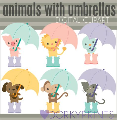 Gcp Monkey Umbrella Embroidered clipart set animals with umbrellas personal and