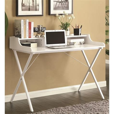 Glass White Desk by Coaster 800407 White Glass Desk A Sofa Furniture