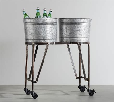 Galvanized Beverage Tub With Stand galvanized metal beverage tub with stand pottery barn