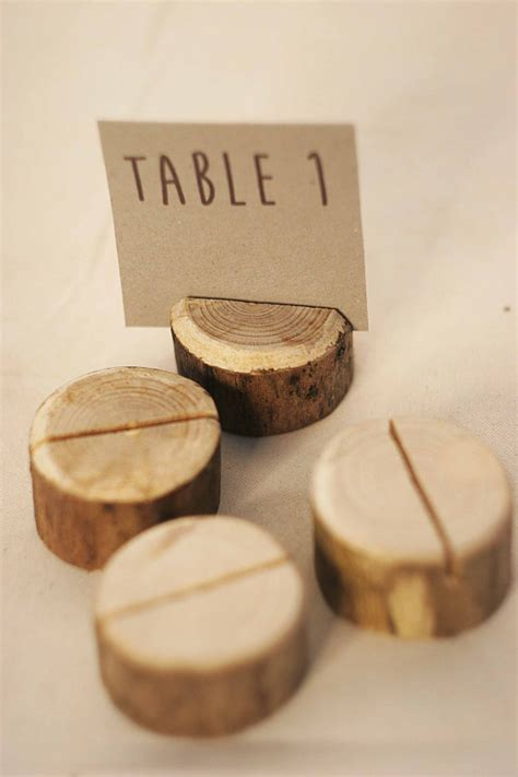 Handmade Place Card Holders - 20pcs handmade wood place card holder forest wood table