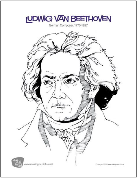 printable music lesson plans great composers ludwig van beethoven free composer coloring page
