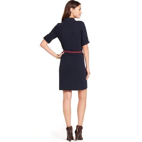 sleeve polo dress lyst hilfiger three quarter sleeve polo dress in blue