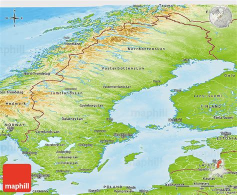 physical map of sweden physical panoramic map of sweden