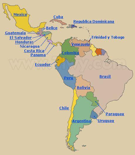 mapa de america paises tiwy com paises de america latina