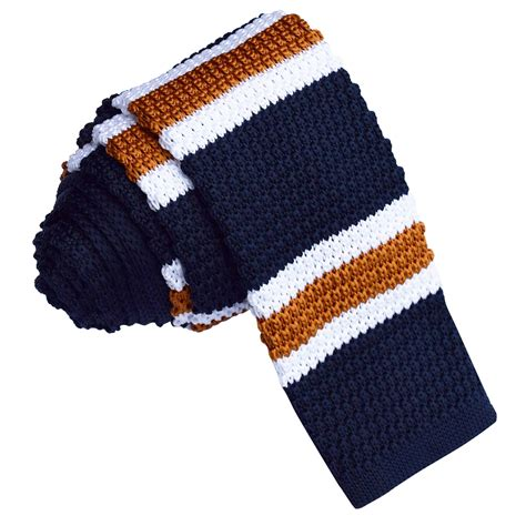 knitted ties s knitted navy with white copper stripe tie