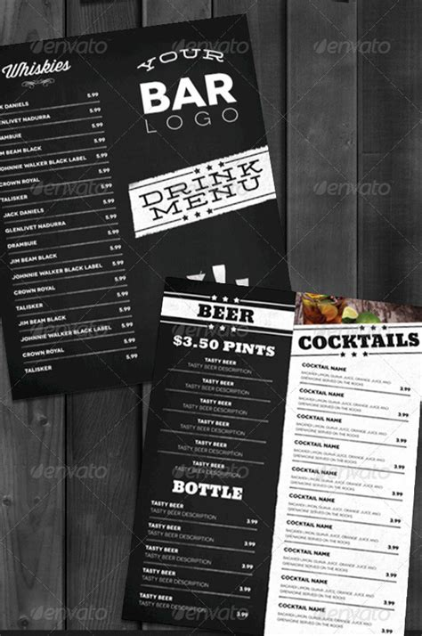 free bar menu template 13 bar menu template images bar menu templates free bar