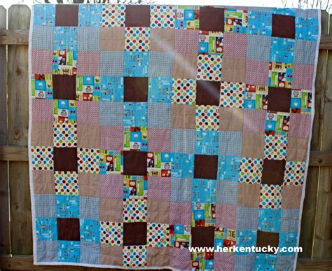 Brown Patchwork Quilt - blue and brown kitchen print patchwork quilt herkentucky