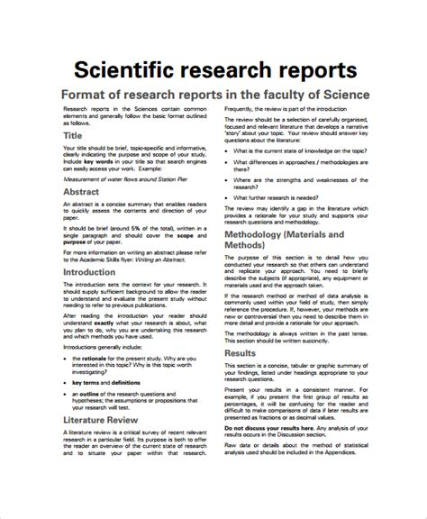Scientific Research Template sle scientific report 6 documents in pdf