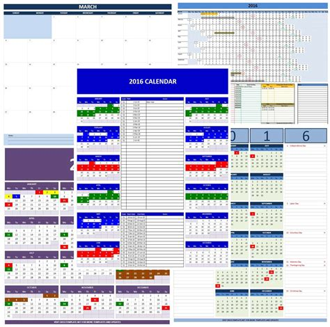 Calendar Template For Excel by 2016 Calendars Excel Templates