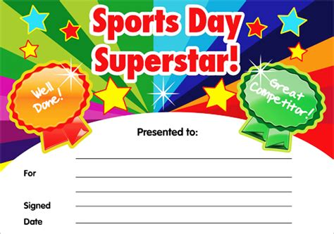 sports day certificate template sports day superstar certificates gold award sports