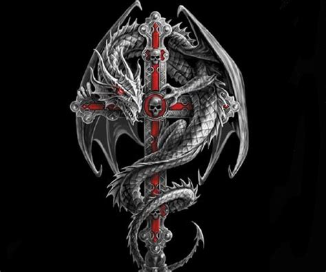 gothic dragon tattoo designs cross wallpaper 10552678 by damianclark on