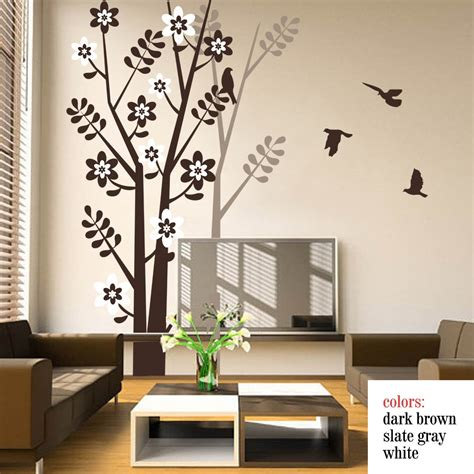 wall decal for room tree wall decal with birds tree shadow for living room bedroom vinyl wall decals wall