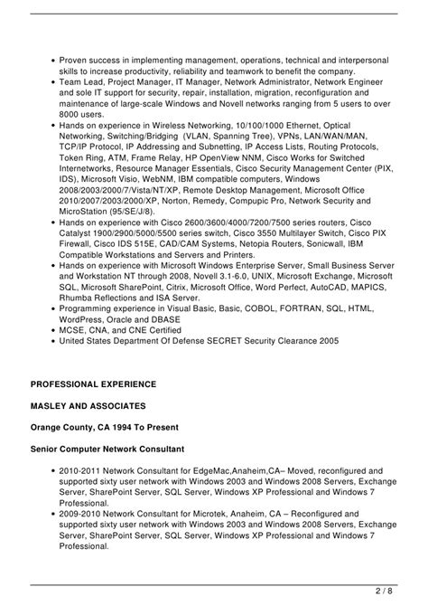 network engineer sle resume resume sle network engineer 28 images resume cover
