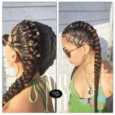 two cornrow braided hairstyle two corn row braid braids pinterest corn rows hair