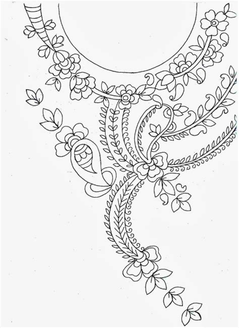 sketch new pattern hand embroidery designs for kurtis neck simple craft ideas